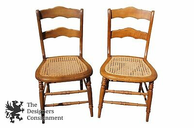 2 Antique Maple Ladder Back Cane Seat Side Chairs Turned Spindle Leg Scalloped