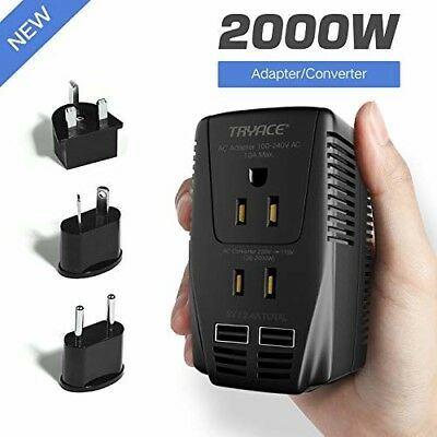 2000W Voltage Converter with 2 USB Port,Set Down 220V to 110V Power Plug Adapter