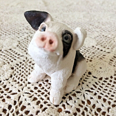 EUC Stone Critters Black Spotted PIG HOG Sculpture Figurine USA MADE ~Sweet Face