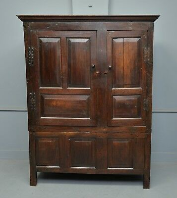Charming 17th Century Oak Two Part Cupboard / Wardrobe