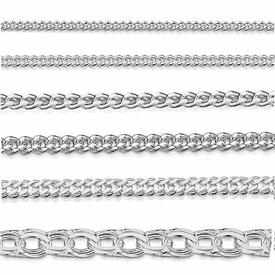Amberta Genuine Real 925 Sterling Silver Long Curb Necklace Chain Made in Italy