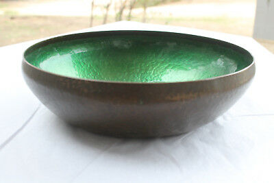 American Arts And Crafts Movement Hammered Copper Enamel Bowl Pairpoint C.1910