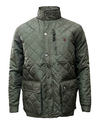 Men's U.S. Polo ASSN. Green Diamond Quilted Lightweight Jacket - CLEARANCE PRICE