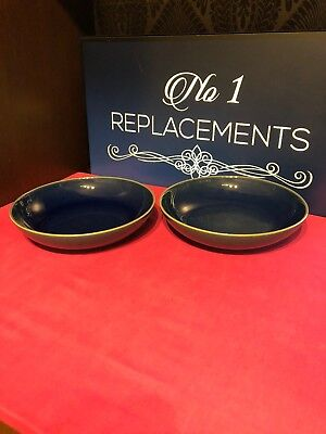 2 x Denby Harlequin Blue / Green Pasta Bowls Brand New Last 6 Sets Available
