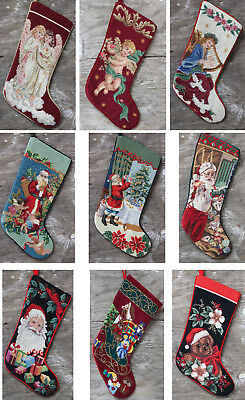 Needlepoint Hand Embroidered Christmas Stocking Vintage Wool-work,selct yours