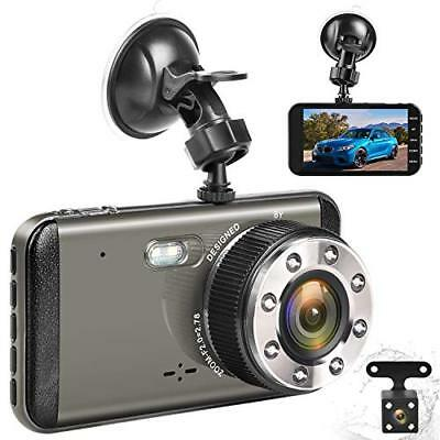 """Effort Dual Dash Cam HD Front And Rear H3 Night Vision Car Camera 4"""" IPS Screen"""
