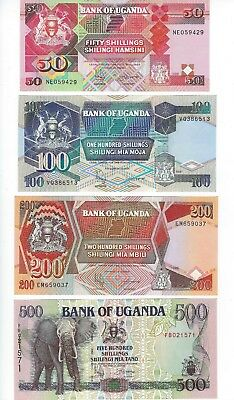 UGANDA  1996 SET 50,100,200 and 500 SHILLINGS   NICE UNC