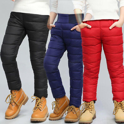 Baby Boys Girls Warm Thick Winter Padded Casual Snow Ski Pants Sweatpants New