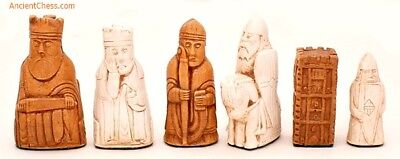 """ISLE OF LEWIS CHESS MEN, PLAYERS' SET, WITH CASTLE ROOKS K=3.5"""" (maple) 295"""