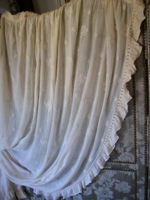 French Antique Sheer Frilly Lace & Embroidery  Drape c1889/c1900