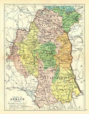 County Armagh. 1897 Antique Irish Map of Armagh. 8 x 10 ins PRINT - FREE P&P UK