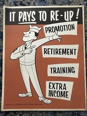 RARE Vintage IT PAYS TO RE-UP NATIONAL GUARD POSTER WWII 1940s 14 x 11