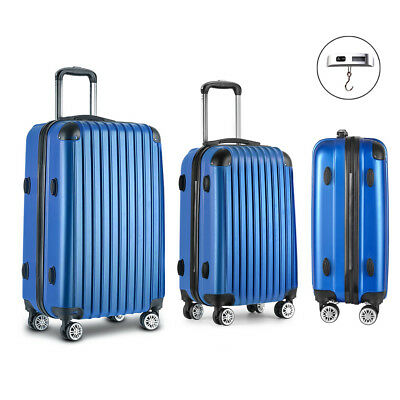 Wanderlite 3 Piece Lightweight Hard Suit Case Luggage Blue High Quality ABS New