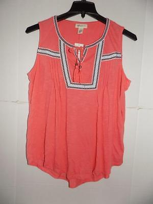c3731bdd7f1 WTB9492 Style co. Women s Plus Coral Sleeveless Peasant Top NWT Size 1X ...