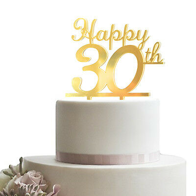 Gold Happy 30th Birthday Cake Topper Acrylic Sturdy Party Cupcake