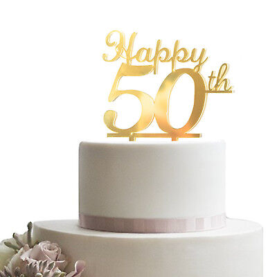 Gold Happy 50th Birthday Cake Topper Acrylic Sturdy Party Cupcake