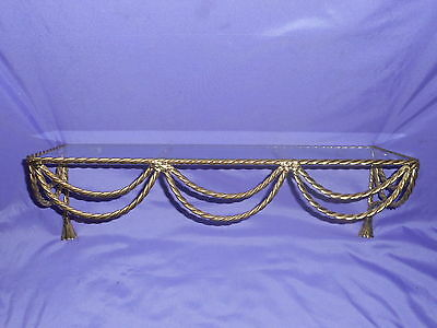 """Vintage Homco Home Interior Gold Brass Twisted Rope Glass Top Wall Shelf 18.5"""""""