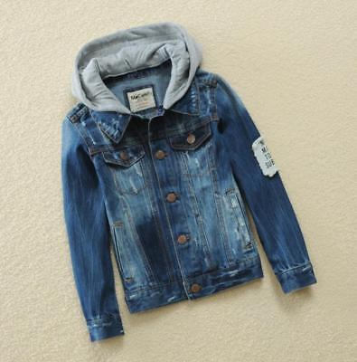 Boys Kids Denim Jeans Jacket Hooded Casual Trench Coat Outerwear Hoodies Size