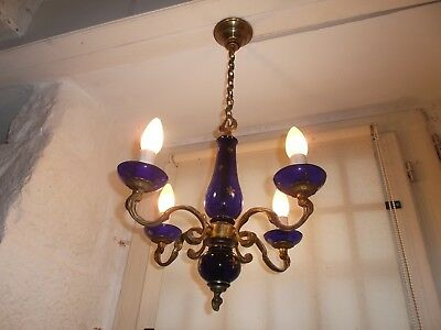 French antique/ vintage 4 light chandelier glass brass bronze pretty detailed