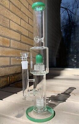 "Glass Water Pipe Hookah Bong 14"" 4 Percs - FREE USA Shipping"