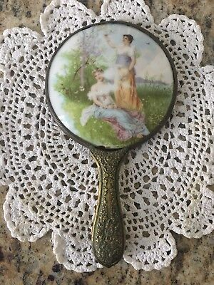 Antique Hand Painted Porcelain Mirror Ladies Meadow