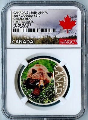 2017 Canada Ngc First Releases Pf70 Matte Silver Colorized-Grizzly Bear S$10!