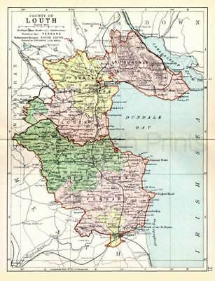 County Louth. 1897 Antique Irish Map of Louth - PRINT 8x10 ins - FREE P&P UK