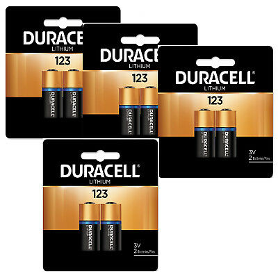 Duracell DL123A, CR123A 3V Lithium Batteries X 8 Pack BRAND NEW RETAIL PACK