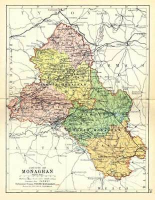 County Monaghan. 1897 Antique Irish Map of Monaghan 8x10in - PRINT - FREE P&P UK