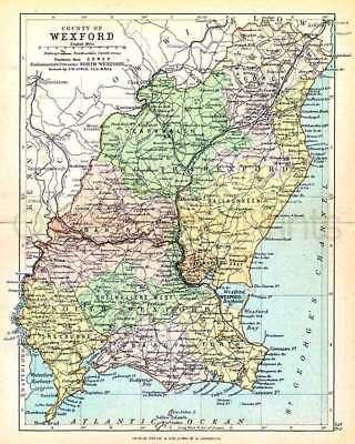 County Wexford. 1897 Antique Irish Map of Wexford - 8x10 ins PRINT - FREE P&P UK