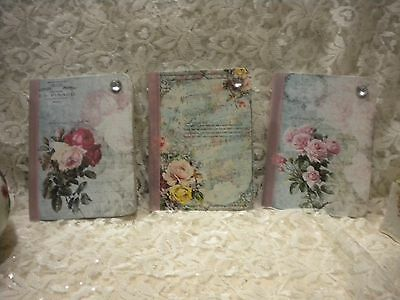 Shabby Chic Small Altered Journals Vintage French / Paris Roses  (3)