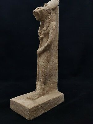 "ANCIENT Egyptian ANTIQUE STATUE Of GODDESS SEKHMET 13"" EGYPT STONE 1390-1352 BC"