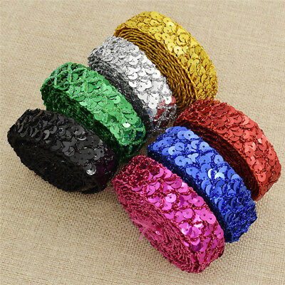 Handmade Costume Lace Sequined Trim Fabric Mesh Ribbon DIY Sewing Dress Material