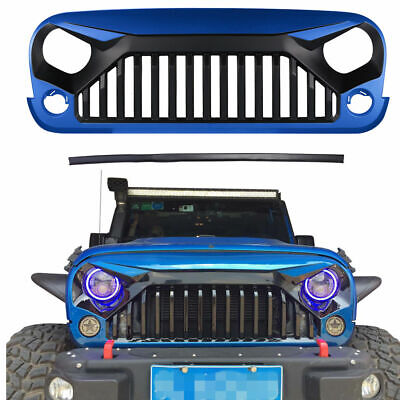 Front Gloss Hydro Blue Gladiator Vader Grill Grille For Jeep Wrangler JK 07-18