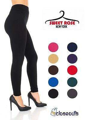 2 Women's Fleece Lined Solid Colors Winter Thick Warm Thermal Stretchy Leggings