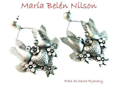 Maria Belen  Gorgeous Hand Fabricated~Large Romantic Dove~Oxidized 925 Earrings