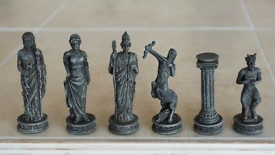 "Greek Mythology Chess Set with Antiqued Stone Finish Glass Board NEW 3.75"" Kings"