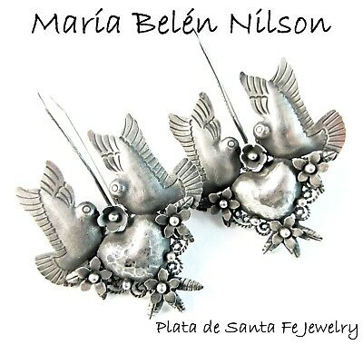 Maria Belen ~Gorgeous~Hand Fabricated~Small Romantic Dove~Oxidized 925 Earrings