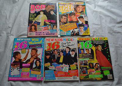 Lot of 5 Vintage 90s Magazines (Bop / 16 / Tiger Beat) - New Kids on the Block