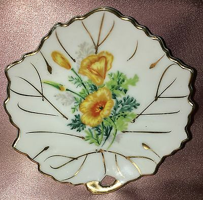 Estate Collectable Gold Rim Yellow Flower Pin Butter Dish Vintage Superior Japan