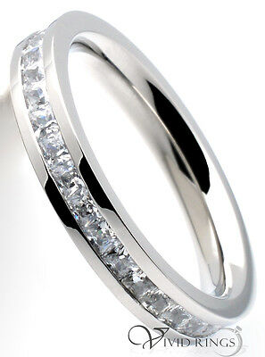 Womens Stainless Steel Princess Cut CZ Flat Eternity Ring 3.5mm Size 4 to 10.5