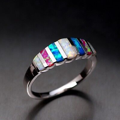 Gorgeous Alloy Filled Wedding Women Rings Multi-color Opal Ring Size 5-12