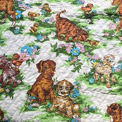Vintage 1960s Cute Baby Farm Animals Flowers Fabric Completed Baby Quilt 32 x 48