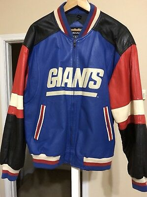 Vintage New York Giants Leather Jacket Nfl Football Mens Size Large Mirage  1995 a80b96894