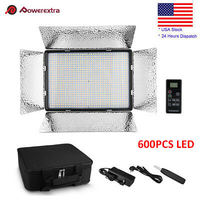 600 LED Bi-Color Video Light 3200K-5500K For Canon Nikon DSLR Camera Camcorder