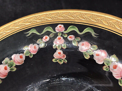 Antique Clear Crystal Encrusted Gold Raised Hand Paint Roses Garland Swag Plate
