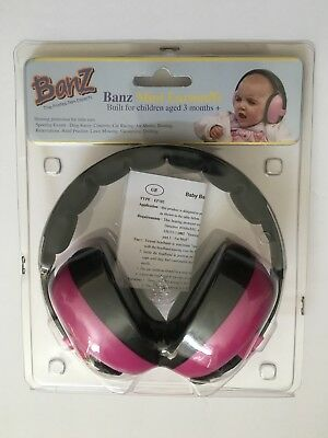 Banz Mini Earmuffs Children Baby Ages 3 Months+ Magenta Pink New