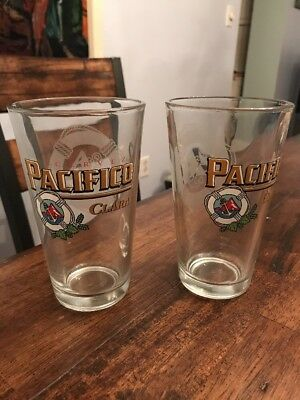2 Pacifico Beer Pint Glasses Etched Buoy Cerveza Art Rare HTF Glass New Mint
