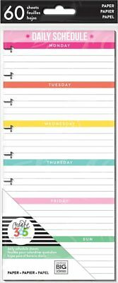 Happy Planner: Classic Size - Half Sheet Daily Schedule 60 Double Sided Sheets