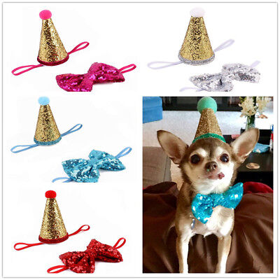 Crown Bow Tie Pet Dog Cat Puppy Birthday Hat Party Costume Supplies